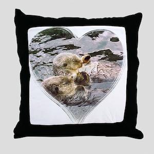 Sea Otter Love Throw Pillow