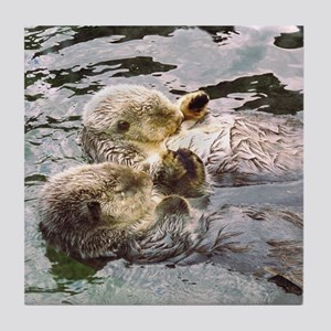 Sea Otter Love Tile Coaster
