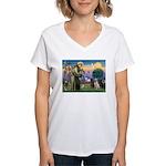 St. Francis/3 Labradors Women's V-Neck T-Shirt