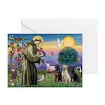 St. Francis/3 Labradors Greeting Cards (Pk of 10)