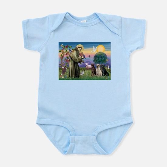 St. Francis/3 Labradors Infant Bodysuit