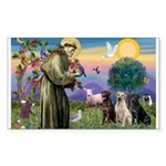 St. Francis/3 Labradors Rectangle Sticker