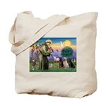 St. Francis/3 Labradors Tote Bag