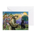 St. Fran/ Flat Coated Ret Greeting Card