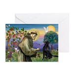 St. Fran/ Flat Coated Ret Greeting Cards (Pk of 20