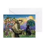 St. Fran/ Flat Coated Ret Greeting Cards (Pk of 10