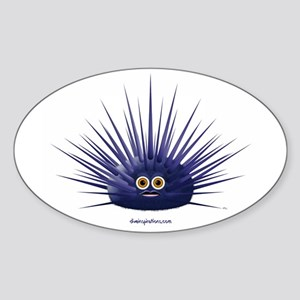 Purple Sea Urchin Oval Sticker