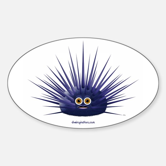 Purple Sea Urchin Oval Stickers