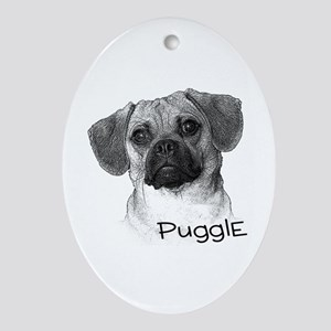 Perfect Puggle Portrait Oval Ornament