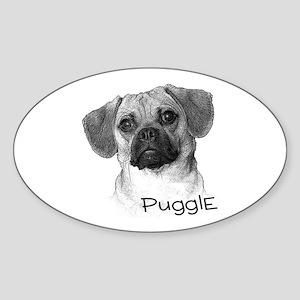 Perfect Puggle Portrait Oval Sticker