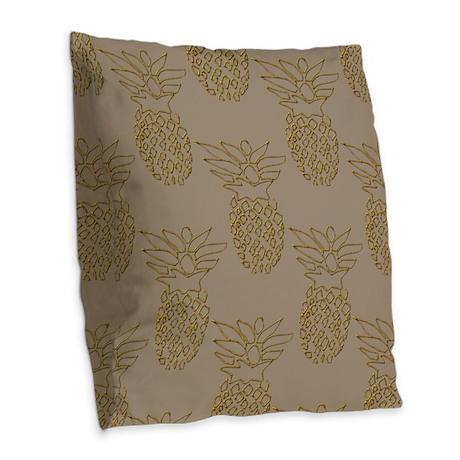 Golden Pineapples Burlap Throw Pillow