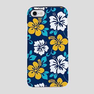 Navy-yellow-light blue-white Hawaiian Hibiscus iPh