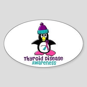 Winter Penguin 2 (Thyroid Disease) Oval Sticker