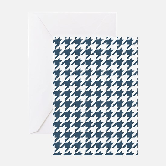 Dusky Blue Houndstooth Pattern Greeting Card