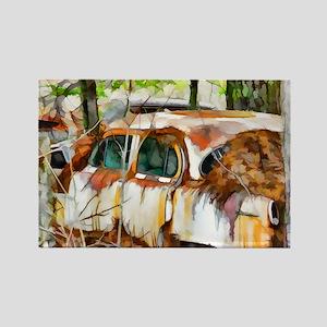A rusty abandoned Car Magnets