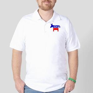 Christian Fish Democratic Donkey Golf Shirt