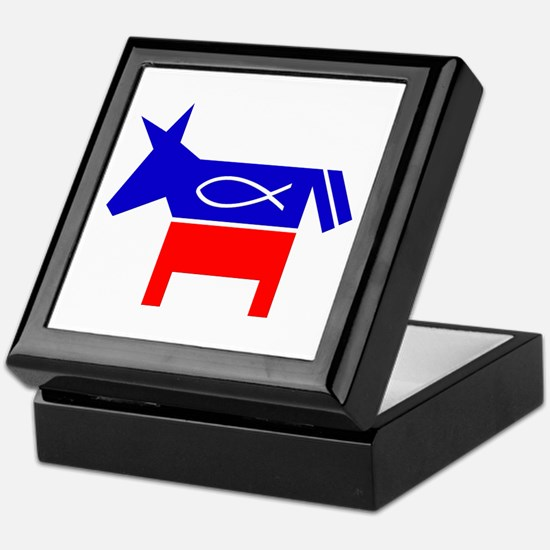 Christian Fish Democratic Donkey Keepsake Box