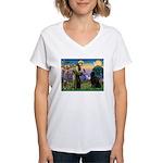 Saint Francis' Newfie Women's V-Neck T-Shirt