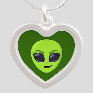 Alien Smirk Emoji Silver Heart Necklace