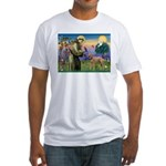 St Francis / Std Poodle(a) Fitted T-Shirt