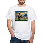 St Francis / Std Poodle(a) White T-Shirt