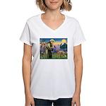 St Francis / Std Poodle(a) Women's V-Neck T-Shirt