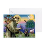 St Francis / Pug Greeting Cards (Pk of 10)