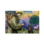 St Francis / Pug Rectangle Magnet