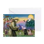 Saint Francis & Two Pugs Greeting Card