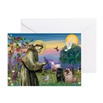 Saint Francis & Two Pugs Greeting Cards (Pk of 20)