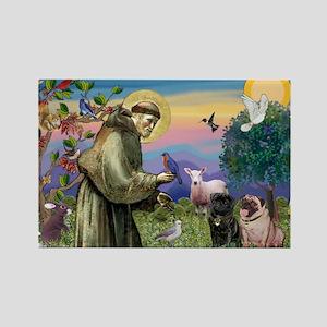 Saint Francis & Two Pugs Rectangle Magnet