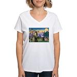 Saint Francis & Two Pugs Women's V-Neck T-Shirt