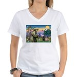 Saint Francis & Two Pugs Women's V-Neck T-Shirt