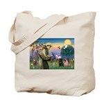 Saint Francis & Two Pugs Tote Bag