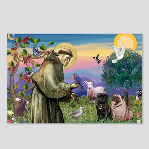Saint Francis & Two Pugs Postcards (Package of 8)