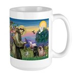 Saint Francis & Two Pugs Large Mug