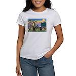 Saint Francis & Two Pugs Women's T-Shirt
