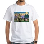 Saint Francis & Two Pugs White T-Shirt