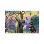 St Francis / Rottweiler Rectangle Magnet (10 pack)