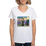 St Francis / Rottweiler Women's V-Neck T-Shirt
