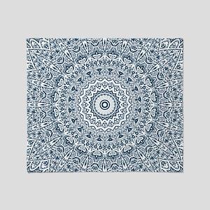 Dusky Blue Mandala Pattern Throw Blanket