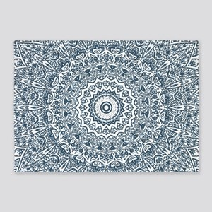 Dusky Blue Mandala Pattern 5'x7'Area Rug