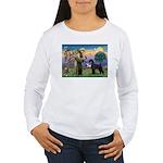 St. Francis & Giant Schnauzer Women's Long Sleeve