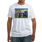 St. Francis & Giant Schnauzer Fitted T-Shirt