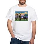 St. Francis & Giant Schnauzer White T-Shirt