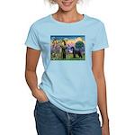 St. Francis & Giant Schnauzer Women's Light T-Shir