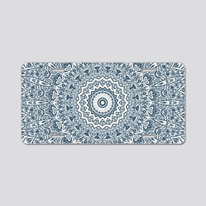 Dusky Blue Mandala Pattern Aluminum License Plate
