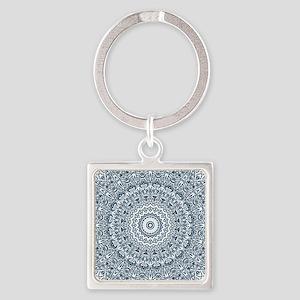 Dusky Blue Mandala Pattern Square Keychain