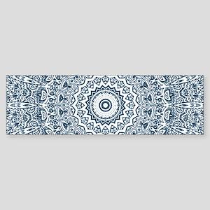 Dusky Blue Mandala Pattern Sticker (Bumper)