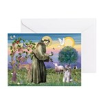 St Francis & Schnauzer (#5) Greeting Cards (Packag